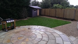 sandstone patio design by Landscape gardener Dubli