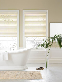 Cream Faux Wood Venetian Blinds With Cords