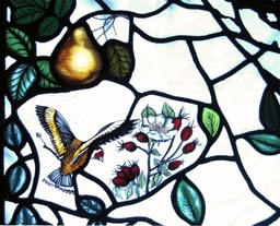 Detail from one of the two altar windows designed and made by Artisan Stained Glass for Muirhead and Liff Church near Dundee