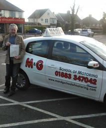 Congratulations to Alan Young of Kenley on successfully passing his practical driving test on the 29th November 2012 at Reigate Test Centre on his first attempt with only 2 minor faults.