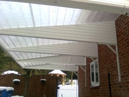 Cantilever Carport White Beams