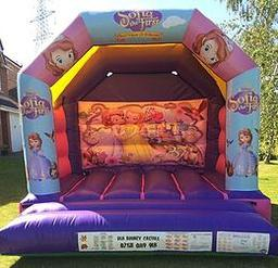 PRINCESS SOFIA THE FIRST BOUNCY CASTLE 12 X 12 FT This Bouncy Castle is suitable for Children up to 15 years of age only The Castle can hold 6 to 8 users at a time There is a sewn in rain cover which is suitable for light rain The required space for this