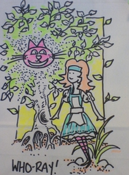An example of one of Who-ray!'s customer carrier bags...Alice in Wonderland theme.