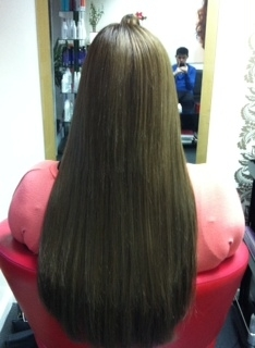L hair after (full head of extensions )