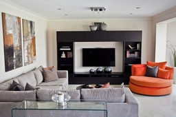 Open Plan Family Living Room With a Pop Of Colour