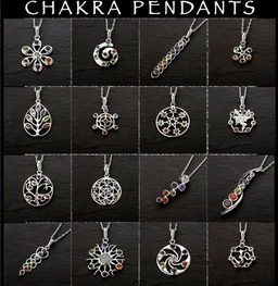 Chakra Gemstone Pendants cast in Sterling Silver