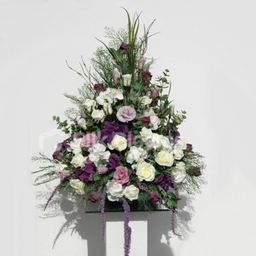 Cream Rose and Purple Hydrangea Pedestal Church Display