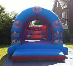 PEPPA PIG BOUNCY CASTLE 12 X 14 FT This Bouncy Castle is suitable for Children up to 15 years of age only The Castle can hold 6 to 8 users at a time There is a sewn in rain cover which is suitable for light rain The required space for this Bouncy Castle i