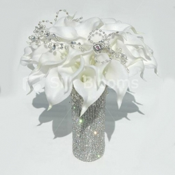 Modern White Crystal and Calla Lily Bridal Bouquet