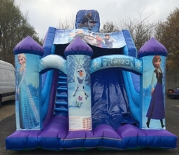 DISNEY FROZEN SLIDE 19 X 14  X 17FT This Bouncy Castle is suitable for Children up to 15 years of age only.  There is a sewn in rain cover which is suitable for light rain. The required space for this Bouncy Castle is 22 x 17 x 19FT High. This product can