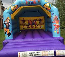 CBEEBIES BOUNCY CASTLE 12 X 15 FT This Bouncy Castle is suitable for Children up to 15 years of age only The Castle can hold 6 to 8 users at a time There is a sewn in rain cover which is suitable for light rain The required space for this Bouncy Castle is