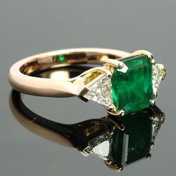 Rose Gold natural Emerald and Diamond