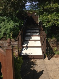 Wood and GRP access stepped ramp