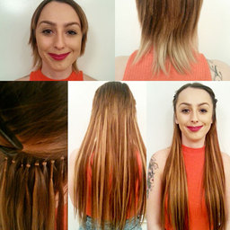 Hair extensions on short, damaged hair