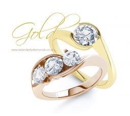 18ct Yellow Gold and 18ct Rose Gold engagement rings. Two possible options for metal choice.