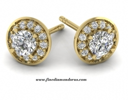 0 60 To 2 Carat Halo Stud Earrings in Yellow Gold at Fine Diamonds R us