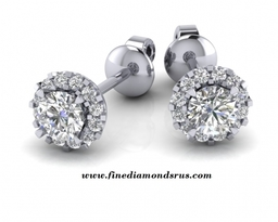 0 60 To 2 Carat Prong Set Halo Stud Earrings In Gold And Platinum at Fine Diamonds R Us