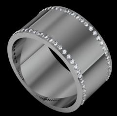 wide double row diamond wedding band