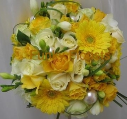 Yellow & cream hand tied