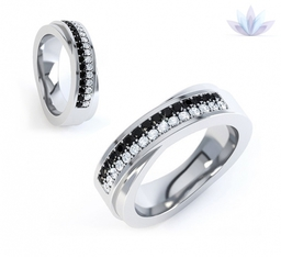 Diamond wedding rings. Black and white diamond wedding rings, with cross-over design and court ring profile.