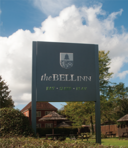 LED lit plate and post sign for The Bell Inn