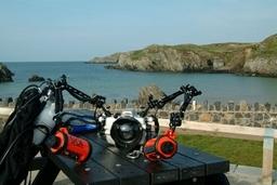 Getting Ready For Pre Breakfast Dive At Porthdafarch Beach