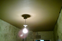 Re-Boarded and skimmed ceiling in 100+ year old house.