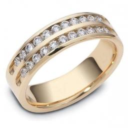 Twin channel set 18ct yellow gold   diamond set  ring