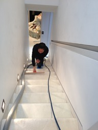 Carpet cleaning Kensington working on stairs