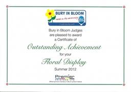 Bury In Bloom Certificate