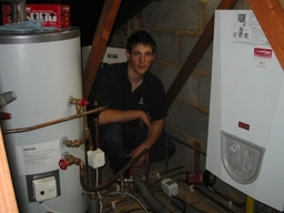 halstead boiler and cylinder in a loft with Appren
