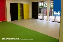 Incorporate a combination of non-sip vinyl and carpet flooring that suits your home or business.