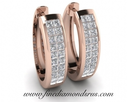 Double Row Princess Cut Diamond Earrings in Rose Gold at Fine Diamonds R us