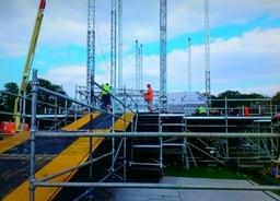festival stage build glastonbury music festival