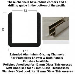 U shaped Glazing Channels for 12mm glass