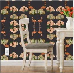 luxury removable peonies &flamingo wallpaper