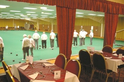 Ryedale Indoor Bowls Club viewed from restaurant