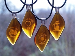 Honey Glass Necklaces - Engraved by Frosted Lime Ltd