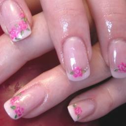hand painted nail art and Acrylics