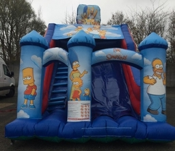 SIMPSONS SLIDE 19 X 14 X 17FT This Bouncy Castle is suitable for Children up to 15 years of age only.  There is a sewn in rain cover which is suitable for light rain. The required space for this Bouncy Castle is 22 x 17 x 19FT High. This product can only
