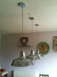 Pendants over the dining table.