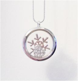 Silver Christmas snowflake locket