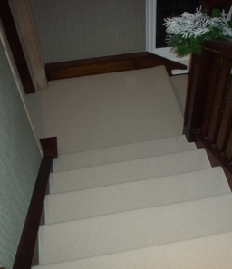 White ribbed carpet on large hall,stair and landing