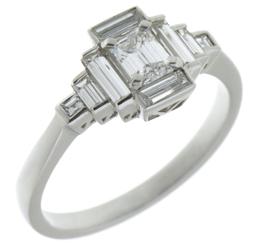 Art deco emerald cut diamond cluster ring