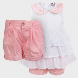 Soft Pink and white 100% cotton Baby girl dresses