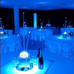 Blue Room - illuminated tables, glow columns, blackout cloth