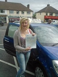 Jasmine Collins from Warlingham was successful on her FIRST attempt when taking her practical driving test at Reigate Test