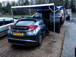 Fixing Honda under our mobile roof