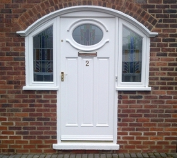 Made to measure timber door with encapsulated glass