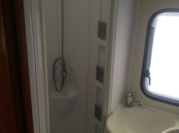 Family Motorhome toilet with separate shower.